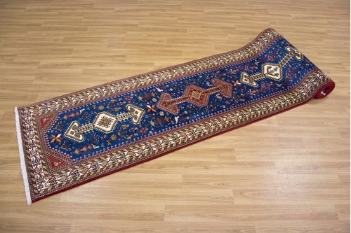 100% Wool Blue Persian Abadeh Rug PAB049046 3.96 x .80 Handknotted in Iran with a 15mm pile