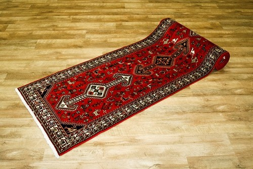 100% Wool Red Persian Abadeh Rug PAB049052 398 x 85 Handknotted in Iran with a 15mm pile