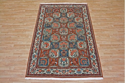 100% Wool Rust Persian Bakhtiar Rug PBA020030 2.47 x 1.52 Handknotted in Iran with a 16mm pile