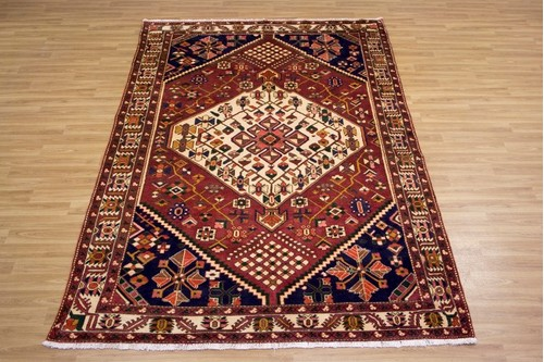 100% Wool Rust Persian Bakhtiar Rug PBA023000 2.98 x 2.03 Handknotted in Iran with a 16mm pile