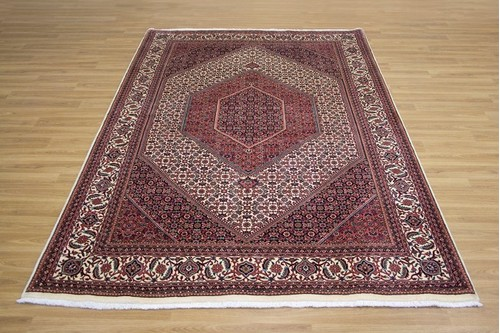 100% Wool Cream Persian Bidjar Carpet PBD021F75 2.46 x 1.69 Handknotted in Iran with a 16mm pile