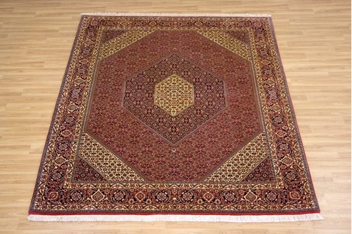 100% Wool Red Persian Bidjar Carpet PBD022FIN 2.56 x 2.03 Handknotted in Iran with a 16mm pile