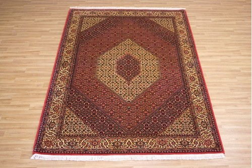 100% Wool Red Persian Bidjar Carpet PBD023FIN 3.10 x 2.09 Handknotted in Iran with a 16mm pile