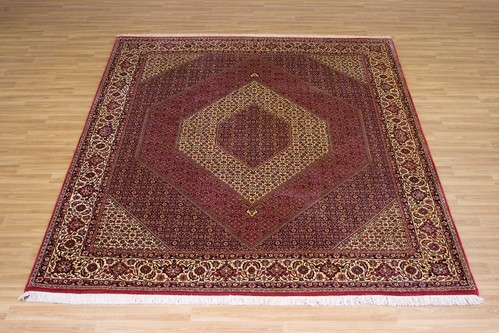 100% Wool Red Persian Bidjar Carpet PBD025FIN 3.04 x 2.54 Handknotted in Iran with a 16mm pile