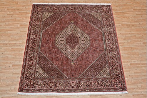 100% Wool Red Persian Bidjar Carpet PBD025M96 2.94 x 2.57 Handknotted in Iran with a 16mm pile