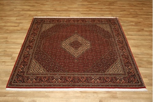100% Wool Red Persian Bidjar Carpet PBD025M96 259 x 255 Handknotted in Iran with a 16mm pile