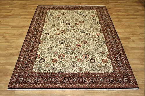 100% Wool Cream Persian Bidjar Carpet Handknotted in Iran with a 16mm pile