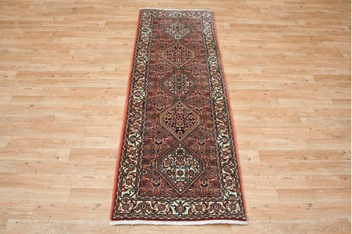 100% Wool Rust Persian Bidjar Carpet PBD042CHE 1.95 x .60 Handknotted in Iran with a 16mm pile