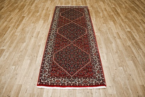 100% Wool Rust Persian Bidjar Carpet PBD043000 205 x 75 Handknotted in Iran with a 16mm pile