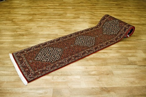 100% Wool Rust Persian Bidjar Carpet PBD049000 396 x 70 Handknotted in Iran with a 16mm pile