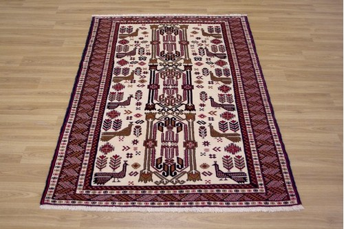 100% Wool Red Persian Belouch Rug PBE014000 1.50 x 1.00 Handknotted in Iran with a 18mm pile