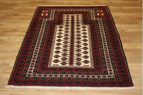 100% Wool Red Persian Belouch Rug PBE014000 146 x 103 Handknotted in Iran with a 18mm pile