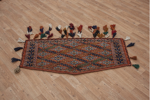 100% Wool Red Persian Djoval Wall Hanging PDJ000WAL 100x60b Handknotted in Iran with a pile
