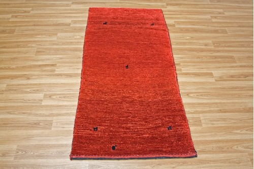 100% Wool Red Persian Gabbeh Rug PGA014052 1.60 x .76 Handknotted in Iran with a 13mm pile