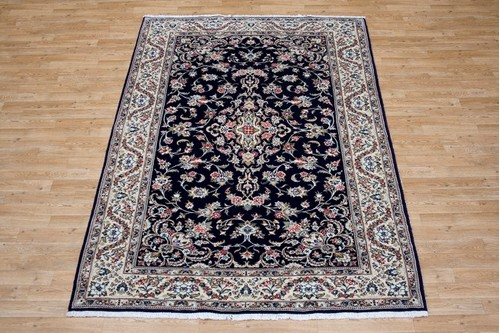 100% Wool Blue Persian Golbaft Rug PGO021046 2.41 x 1.70 Handknotted in Iran with a 17mm pile