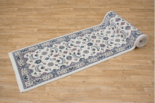 100% Wool Cream Persian Golbaft Rug PGO048044 3.66 x .69 Handknotted in Iran with a 17mm pile