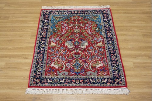 100% Wool Red Persian Ipsphan Rug PIS008000 1.06 x .71 Handknotted in Iran with a 10mm pile