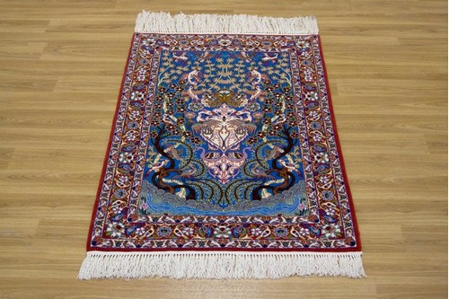 100% Wool Multi Persian Ipsphan Rug PIS008000 1.10 x .73 Handknotted in Iran with a 10mm pile