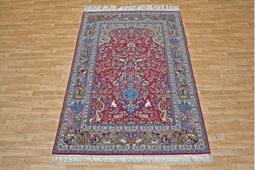 100% Wool Red Persian Ipsphan Rug PIS020000 2.45 x 1.57 Handknotted in Iran with a 10mm pile