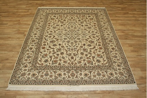 100% Wool Cream Persian Ipsphan Rug QIS025000 318 x 248 Handknotted in Iran with a 10mm pile