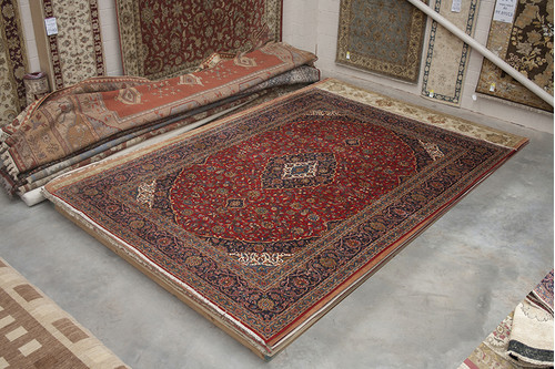 100% Wool Red Persian Keshan Rug PKE034CHE 493x350 Handknotted in Iran with a 20mm pile