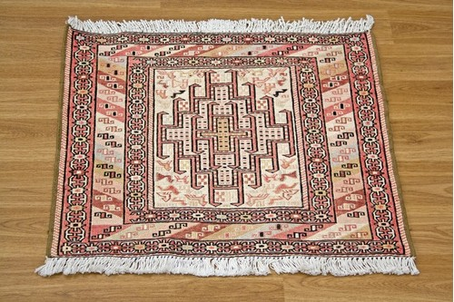100% Wool Cream Persian Souzami Kelim Rug PSO004000 .54 x .58 Handknotted in Iran with a 6mm pile