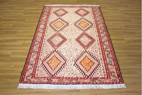 100% Wool Cream Persian Souzami Kelim Rug PSO019000 1.95 x 1.22 Handknotted in Iran with a 6mm pile