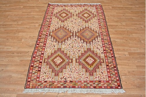 100% Wool Cream Persian Souzami Kelim Rug PSO019000 1.97 x 1.22 Handknotted in Iran with a 6mm pile