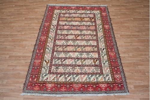 100% Wool Cream Persian Souzami Kelim Rug PSO023000 2.76 x 1.81 Handknotted in Iran with a 6mm pile