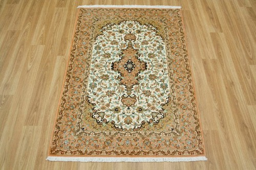 100% Silk Cream Persian Silk Qum Rug PSQ008000 116 x 77 Handknotted in Iran with a 5mm pile