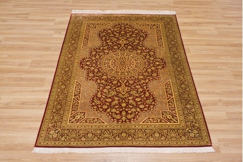 100% Silk Red Persian Silk Qum Rug PSQ013000 1.47 x .96 Handknotted in Iran with a 5mm pile