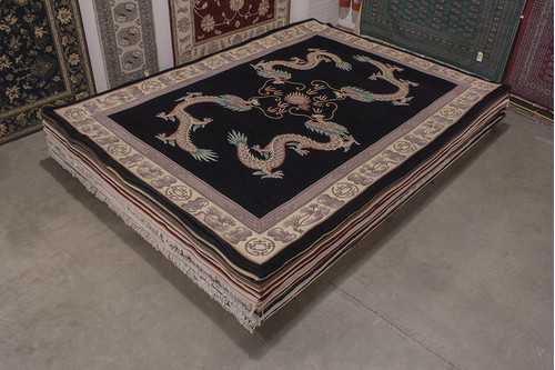 100% Wool Black Chinese Premier Superwashed Rug PSW030444 419x307 Handknotted in China with a 25mm pile