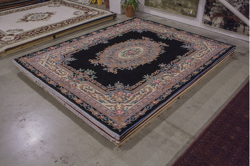 100% Wool Black Chinese Premier Superwashed Rug PSW033133 458x369 Handknotted in China with a 25mm pile