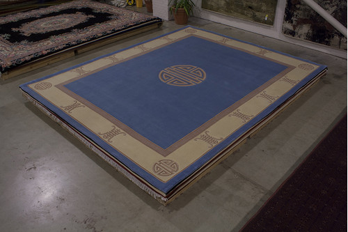100% Wool Blue Chinese Premier Superwashed Rug PSW033421 458x366 Handknotted in China with a 25mm pile