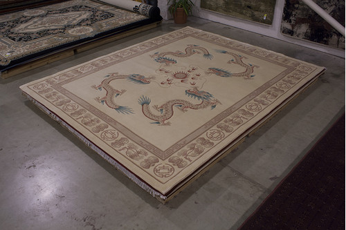 100% Wool Cream Chinese Premier Superwashed Rug PSW033440 456x366 Handknotted in China with a 25mm pile