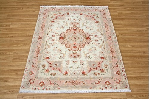 100% Wool Cream Persian Tabriz Rug PTA014FIN 1.50 x 1.05 Handknotted in Iran with a 10mm pile
