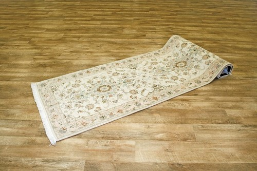 100% Wool Cream Persian Tabriz Rug PTA047FIN 325 x 89 Handknotted in Iran with a 10mm pile