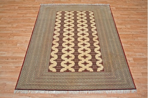 100% Wool Cream Persian Turkman Rug PTU018000 1.90 x 1.42 Handknotted in Iran with a 10mm pile