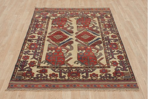 100% Wool Multi Afghan Baarjaasta Rug ABA018000 159x124 Handknotted in Afghanistan with a 8mm pile