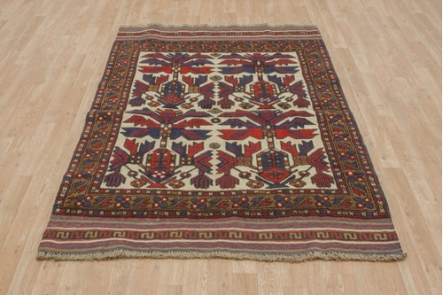 100% Wool Multi Afghan Baarjaasta Rug ABA018000 167x129 Handknotted in Afghanistan with a 8mm pile