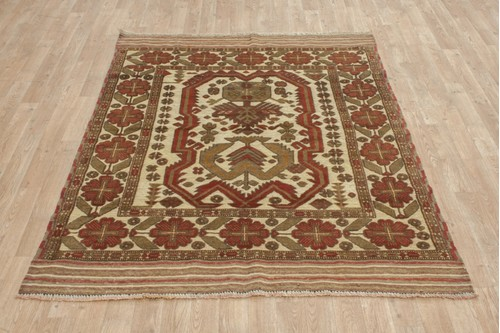 100% Wool Multi Afghan Baarjaasta Rug ABA018000 177x133 Handknotted in Afghanistan with a 8mm pile