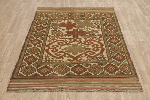 100% Wool Multi Afghan Baarjaasta Rug ABA018000 178x127 Handknotted in Afghanistan with a 8mm pile