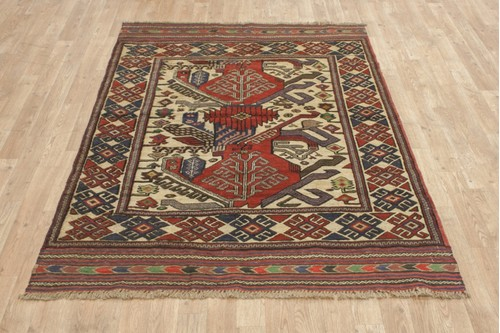 100% Wool Multi Afghan Baarjaasta Rug ABA018000 186x129 Handknotted in Afghanistan with a 8mm pile
