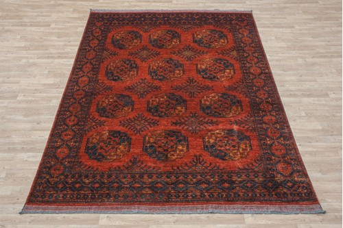 100% Wool Rust Afghan Ersari Rug AES023000 288x210 Handknotted in Afghanistan with a 6mm pile