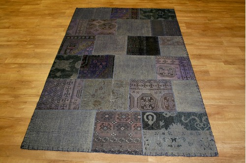 100% Wool Multi Afghan Modern Patch work AGM020PAT 244 x 154 Handknotted in Afghanistan with a 5mm pile