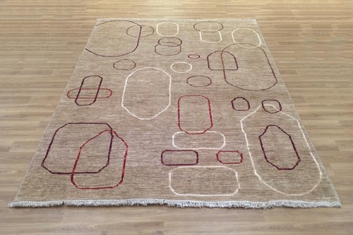 100% Wool Brown Afghan Modern Rug AGM021CHE 244x169 Handknotted in Afghanistan with a 6mm pile
