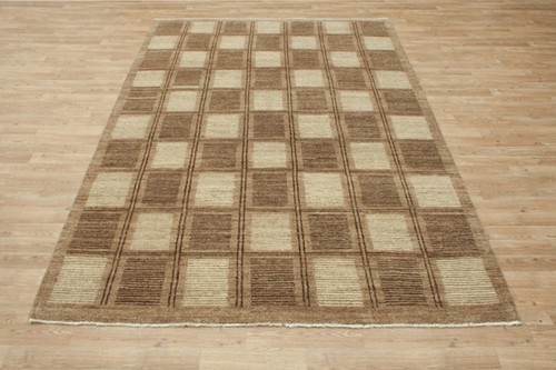 100% Wool Brown Afghan Modern Rug AGM022CHE 2.70 x 1.77 Handknotted in Afghanistan with a 6mm pile