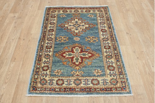 100% Wool Blue Afghan Kaynak Rug AKA006F46 96x60 Handknotted in Afghanistan with a 5mm pile