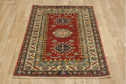 100% Wool Red Afghan Kaynak Rug AKA006F52 86x62 Handknotted in Afghanistan with a 5mm pile