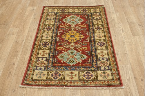 100% Wool Red Afghan Kaynak Rug AKA006F52 93x60 Handknotted in Afghanistan with a 5mm pile